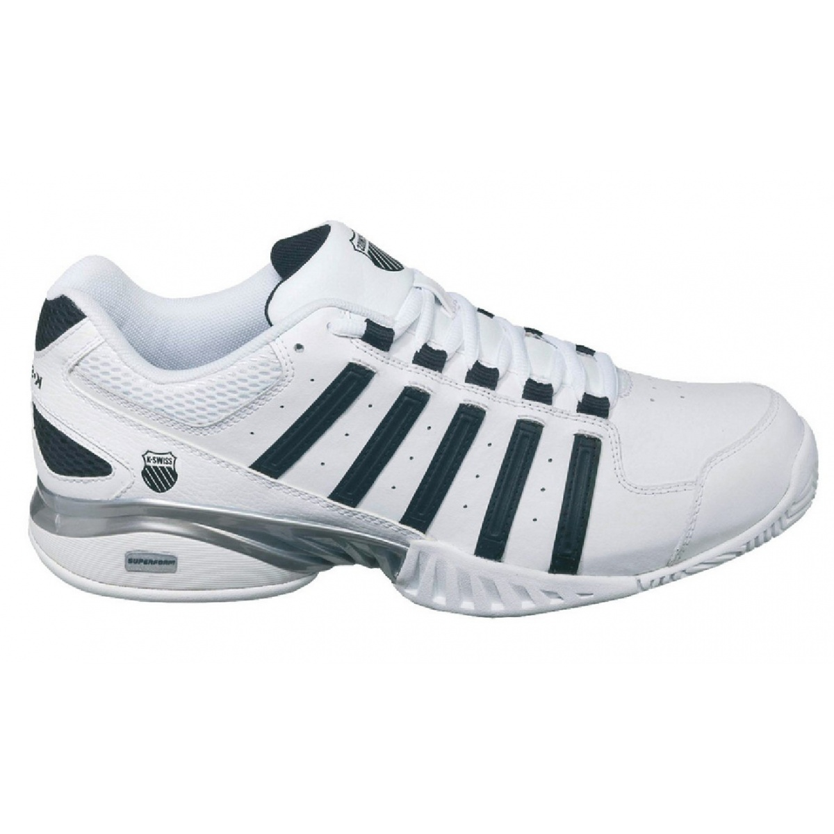 kswiss receiver iii weiss schwarz indoor tennisschuhe herren gr e 41 versandkostenfrei online. Black Bedroom Furniture Sets. Home Design Ideas