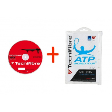 Tecnifibre Pro Red Code WAX rot 200 Meter Rolle + TF Pro Contact 12er