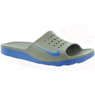 Nike Badeschuhe Solarsoft Slide 2014 grau/blau Herren (Gr��e 48.5)