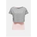 Esprit Shirt 2-in-1 Stretch grau/rosa Damen
