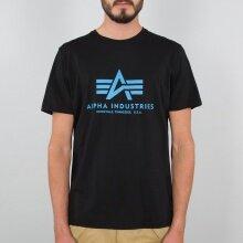 Alpha Industries Tshirt Basic (Baumwolle) schwarz/blau Herren