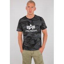 Alpha Industries Tshirt Basic Camo (Baumwolle) schwarz Herren