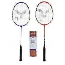 SET 2x Victor AL2200 Badmintonschläger 2021 (1x blau, 1x rot) + 6er Shuttle 500