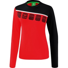 Erima Langarmshirt 5-C 2019 rot/schwarz/weiß Damen