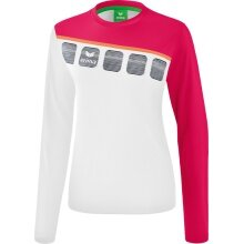 Erima Langarmshirt 5-C 2019 weiß/rosa/peach Damen