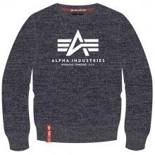 Alpha Industries Pullover Basic (Baumwolle) Sweater grau meliert/weiss Herren