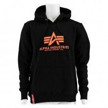 Alpha Industries Kapuzenpullover (Hoodie) Neon-Print Logo schwarz/orange Herren