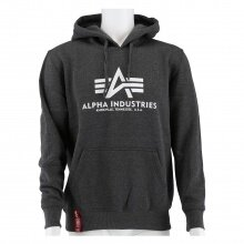 Alpha Industries Kapuzenpullover (Hoodie) Basic Logo grau meliert/weiss Herren