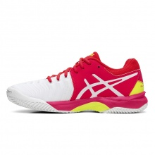 Asics Gel Resolution 7 Clay weiss/pink Sandplatz-Tennisschuhe Kinder