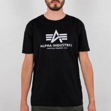 Alpha Industries Tshirt Basic (Baumwolle) reflektierender Print schwarz Herren