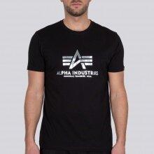 Alpha Industries Tshirt Basic Foil Print (Baumwolle) schwarz/silber Herren
