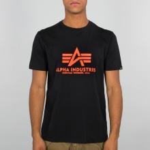 Alpha Industries Tshirt Basic (Baumwolle) Neon Print schwarz/neon orange Herren