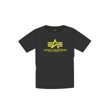 Alpha Industries Tshirt Basic (Baumwolle) Neon Print schwarz/neon gelb Herren