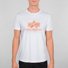 Alpha Industries Tshirt Basic (Baumwolle) weiss/neon orange Herren