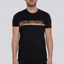 Alpha Industries Tshirt T Foil Print (Baumwolle) schwarz/kupferrot Herren