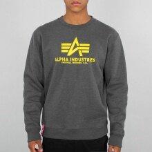Alpha Industries Pullover Basic (Baumwolle) Sweater grau/gelb Herren