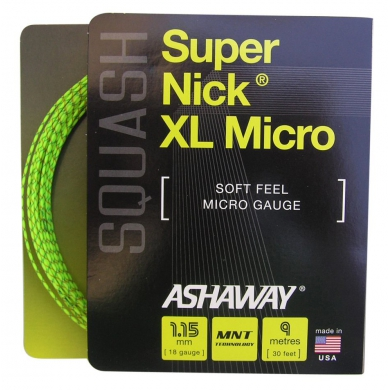 Ashaway Squashsaite Super Nick XL Micro 1.15mm gelb 10m Set