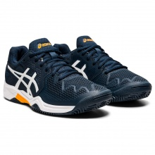 Asics Gel Resolution 8 Clay 2021 blau/orange Sandplatz-Tennisschuhe Kinder
