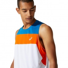 Asics Tank (ärmelloses Shirt) Race 2021 weiss/blau/orange Herren