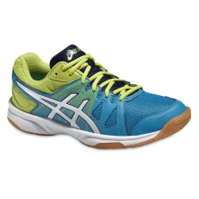 Asics Gel Upcourt blau/lime Indoorschuhe Kinder