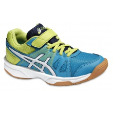 Asics Gel Upcourt Klett 2016 blau/lime Indoorschuhe Kinder (Größe 27+28,5)