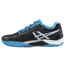 Asics Gel Resolution 6 Clay 2016 schwarz/blau Tennisschuhe Herren