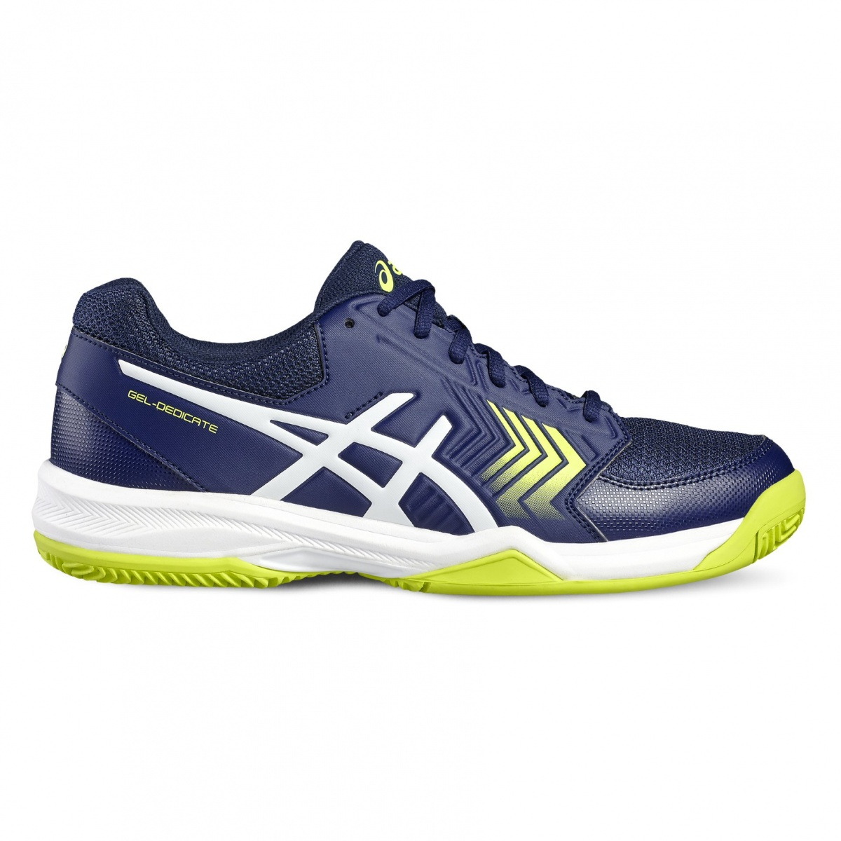 Asics Herren Gel-Dedicate 5 Tennisschuhe, Blau (Indigo Blue/White/Safety Yellow), 42.5 EU