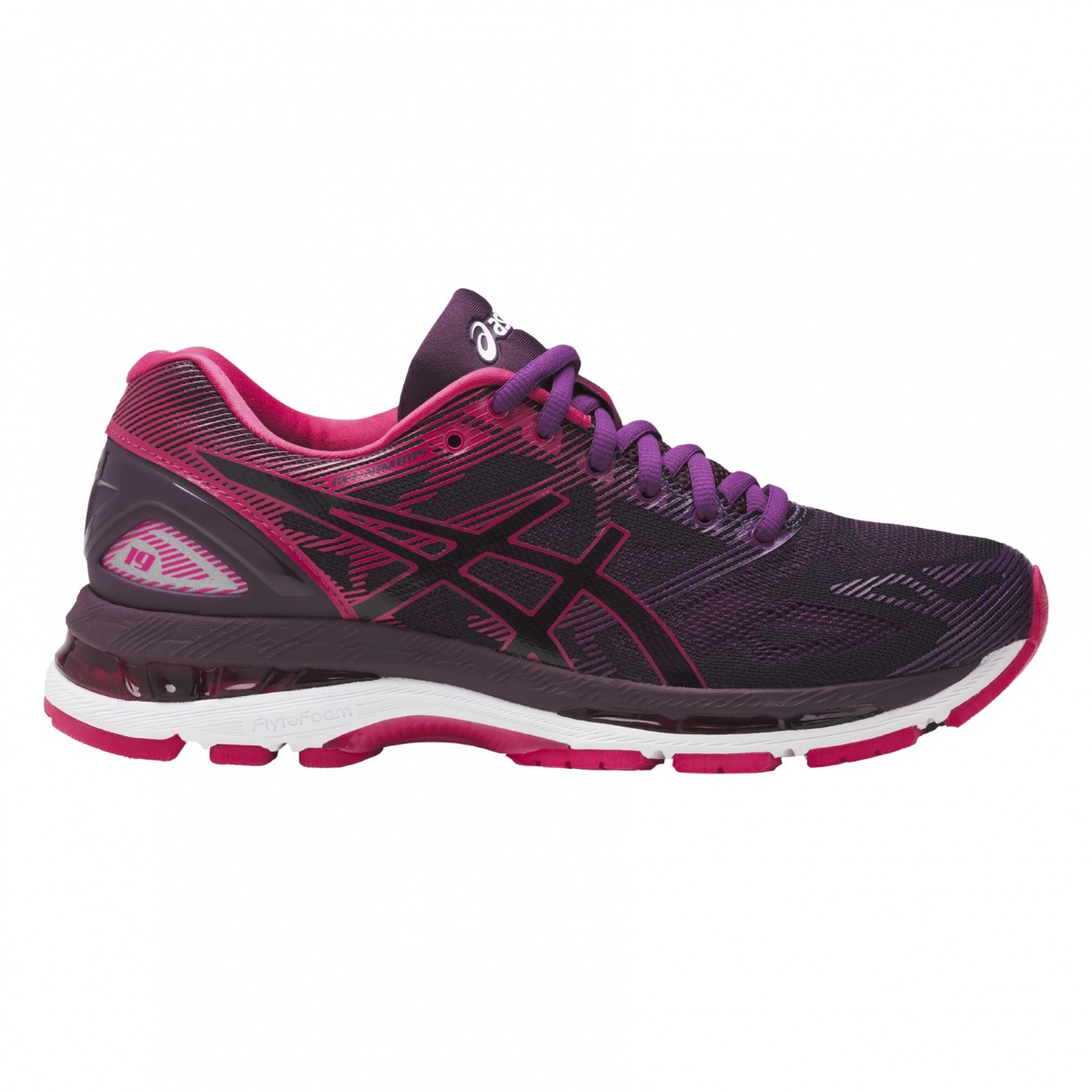 asics gel nimbus 19 2017 schwarz pink laufschuhe damen. Black Bedroom Furniture Sets. Home Design Ideas