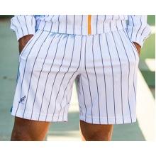 Australian Tennishose Short Ace Stripes kurz weiss/tealblau Herren
