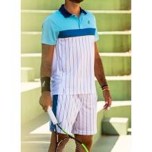 Australian Tennis-Polo Ace Stripes #20 weiss/hellblau Herren