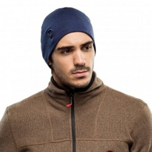 Buff Mütze (Beanie) Heavyweight Merinowolle Solid denimblau