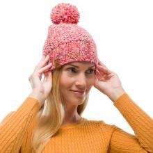 Buff Mütze (Bommel) Strick & Polar Margo pink