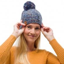 Buff Mütze (Bommel) Strick & Polar Margo blau