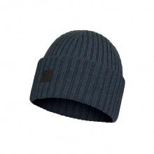 Buff Mütze (Beanie) Strickmütze Merinowolle Fischer Ervin denimblau