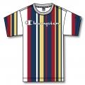 Champion Tshirt (Baumwolle) Candy Streifen-Muster 2021 weiss Herren