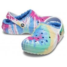 Crocs Classic Tie-Dye Lined Clog (gefüttert) blau/bunt Sandale Sandale/Hausschuhe