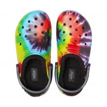Crocs Classic Tie-Dye Lined Clog (gefüttert) schwarz/bunt Sandale Sandale/Hausschuhe