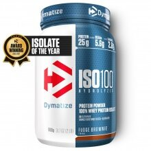 Dymatize Iso100 Hydrolyzed Isolat Protein Pulver Fudge Brownie 900g Dose