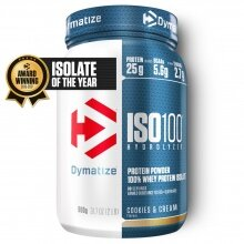 Dymatize Iso100 Hydrolyzed Isolat Protein Pulver Cookies & Cream 900g Dose