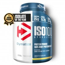 Dymatize Iso100 Hydrolyzed Isolat Protein Pulver Smooth Banana 2200g Dose