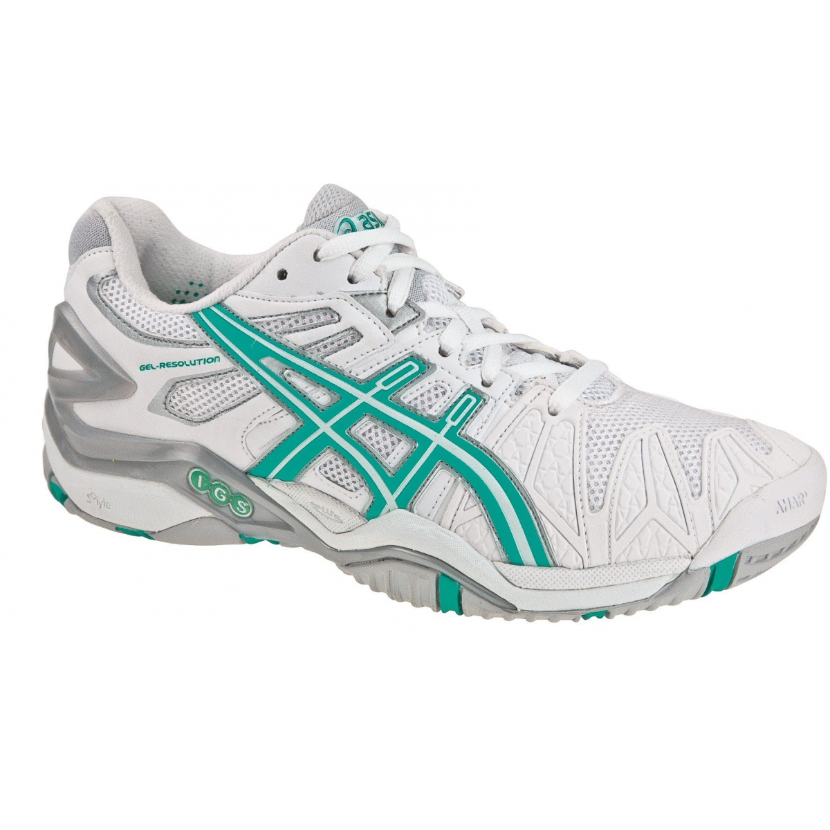 best website best choice sale uk Asics Gel Resolution 5 weiss/türkis Tennisschuhe Damen (Größe 42,5)