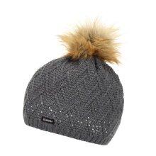 Eisbär Mütze (Pompon) Isabella Lux Crystal grau Damen