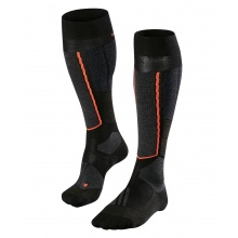 Falke Skisocke ST4 Wool schwarz/grau/orange 1er Damen