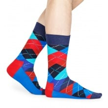 Happy Socks Tagessocke Crew Argyle 6300 royalblau/rot 1er
