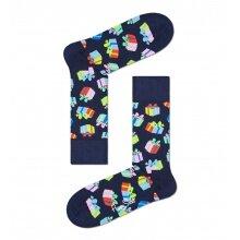 Happy Socks Tagessocke Crew Happy Birthday Gift (Geschenk) dunkelblau - 1 Paar