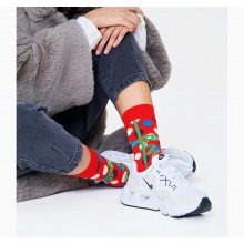 Happy Socks Tagessocke Crew Christmas Gift (Weihnachtsgeschenk) rot - 1 Paar