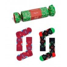 Happy Socks Tagessocke Crew Santa Animals (Hund & Katze) Cracker Geschenkbox 2er