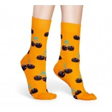 Happy Socks Tagessocke Crew Cherry (Kirsche) orange 1er