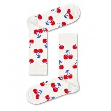 Happy Socks Tagessocke Crew Cherry (Kirsche) weiss/rot 1er