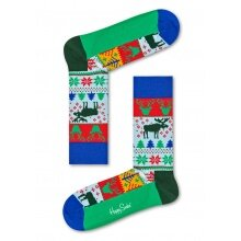 Happy Socks Tagessocke Crew Fair Isle grün 1er